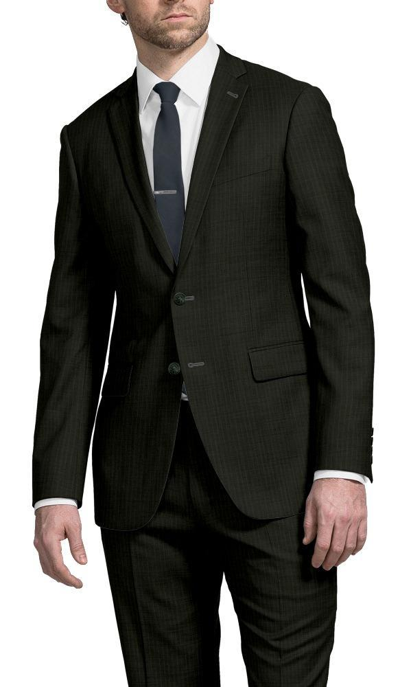 Suit Dark Green Pinstripe Suit