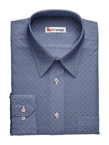 Sport shirt Red Dots on a Blue Field
