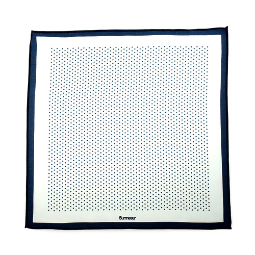 Mouchoirs de poche Mouchoir de Poche High End Blanc/BleuMarin Polka Dot