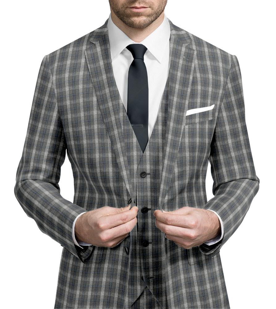 Three-piece suit Grey check