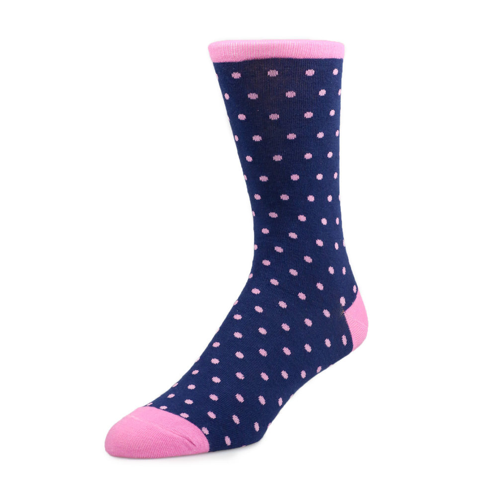Socks Socks - Navy with pink polka Dot