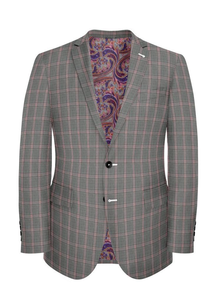 Jacket Grey/Pink Plaid - Georges
