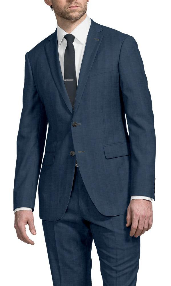 Suit Mid Blue Herringbone - Greenock