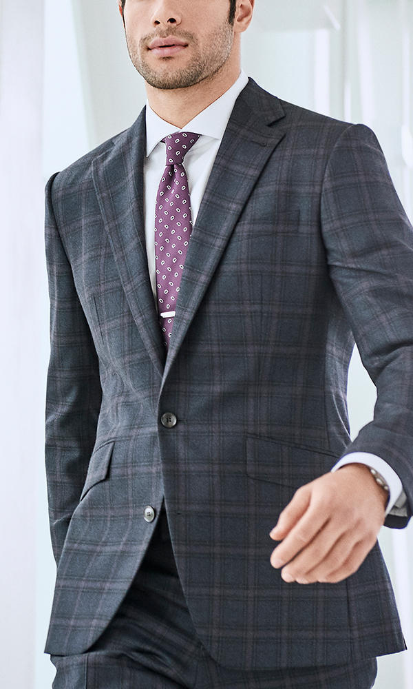 Suit Dark Blue/Purple Windowpane - Tessilstrona