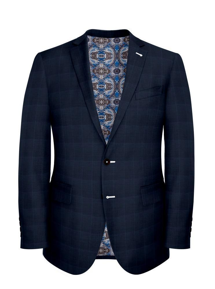Jacket Blue Windowpane - Lucio