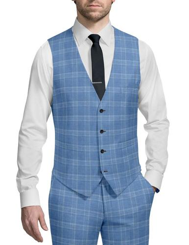 Waistcoat Light Blue Plaid - Oscar