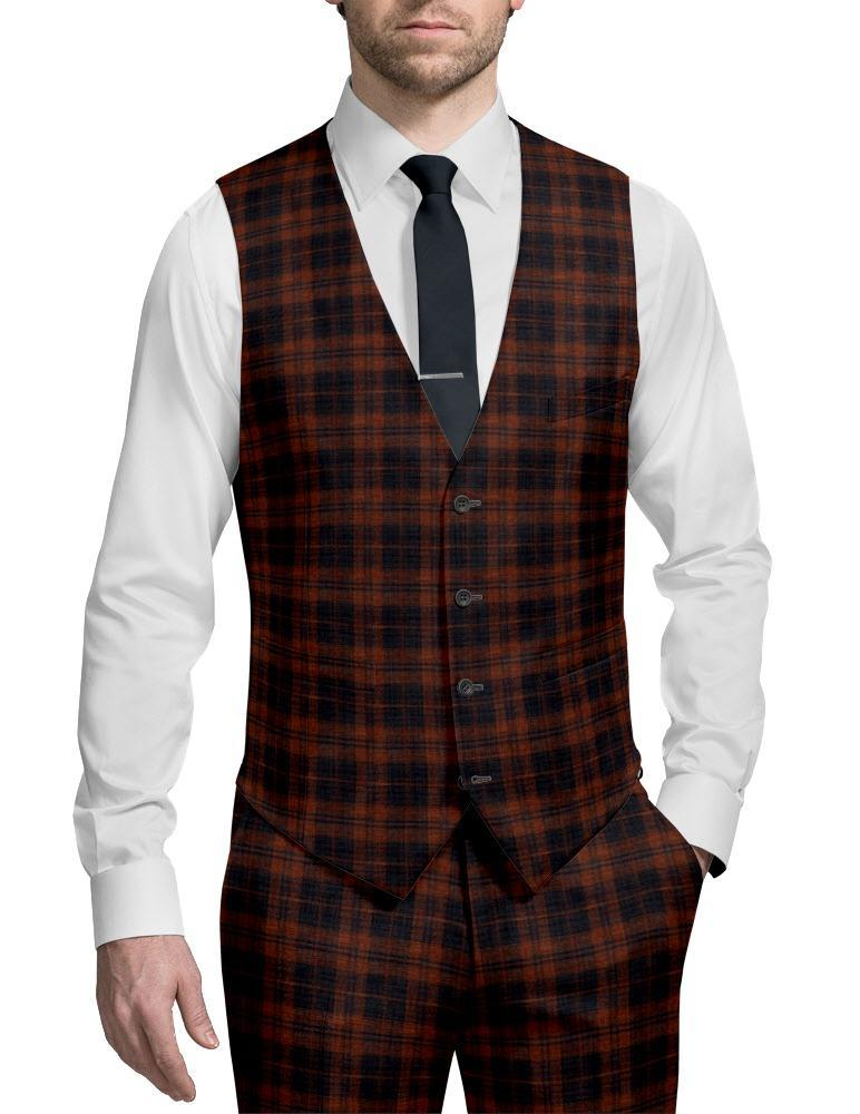 Waistcoat Orange/Navy Plaid - Stuart +
