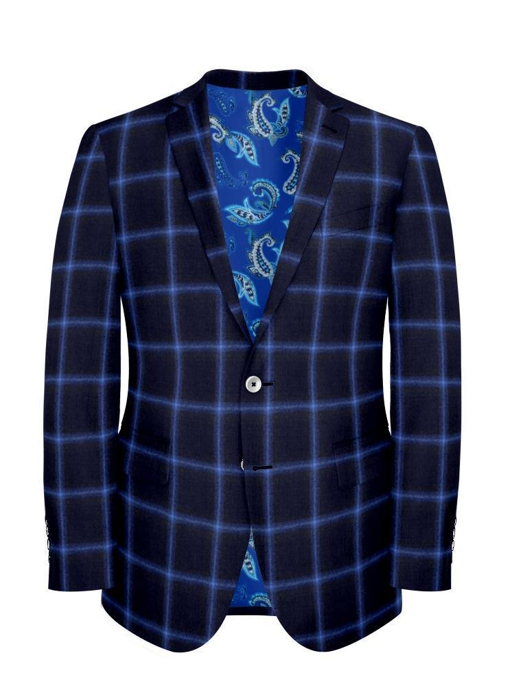 Jacket Electric Blue Windowpane - Wilfred +