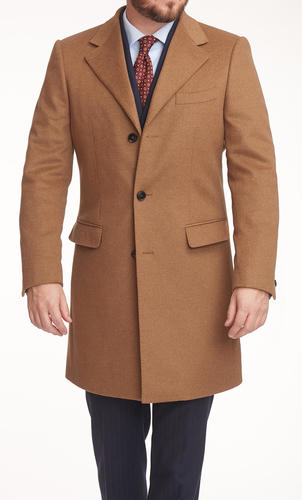 Overcoat Camel Wool/Cashmere Blend Coat - Azurin +