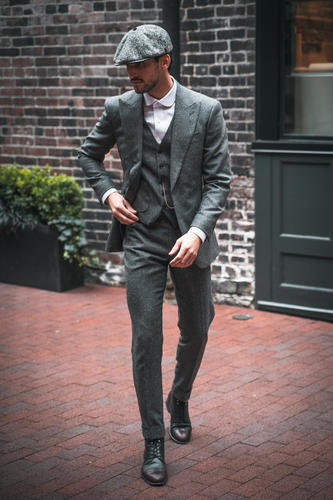 Three-piece suit Grey Donegal Tweed - Birmingham Style