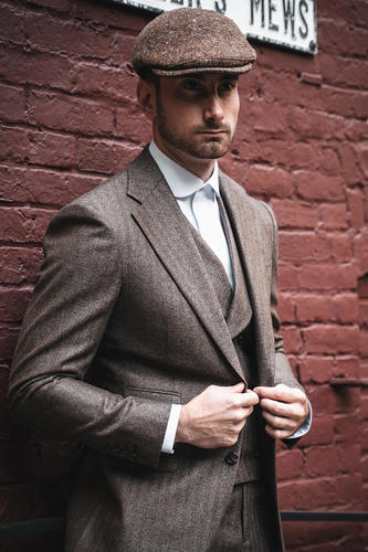 Three-piece suit Brown Herringbone Suit  - Birmingham Style