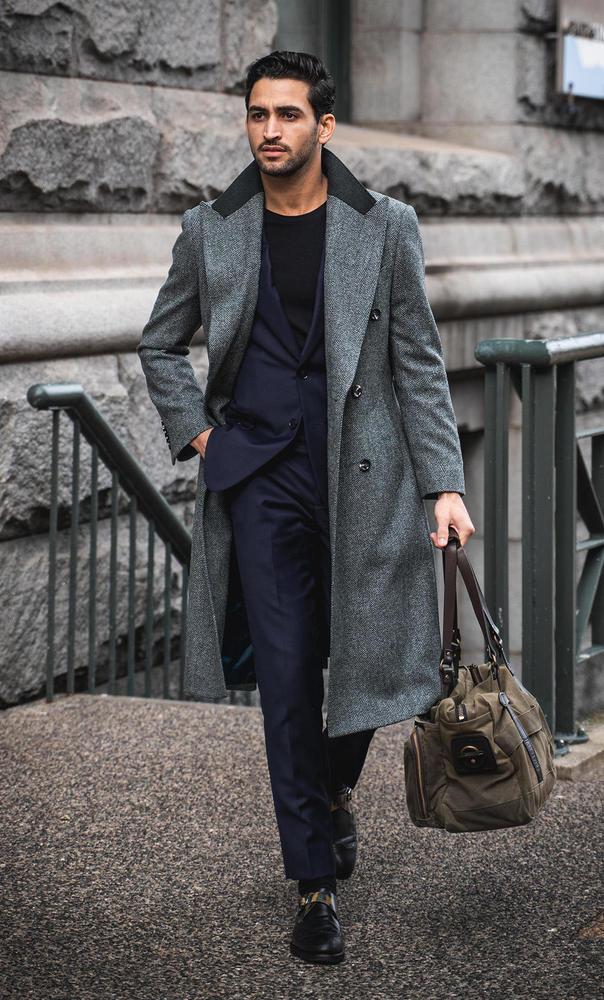 Overcoat Grey Herringbone Coat - Azurin +