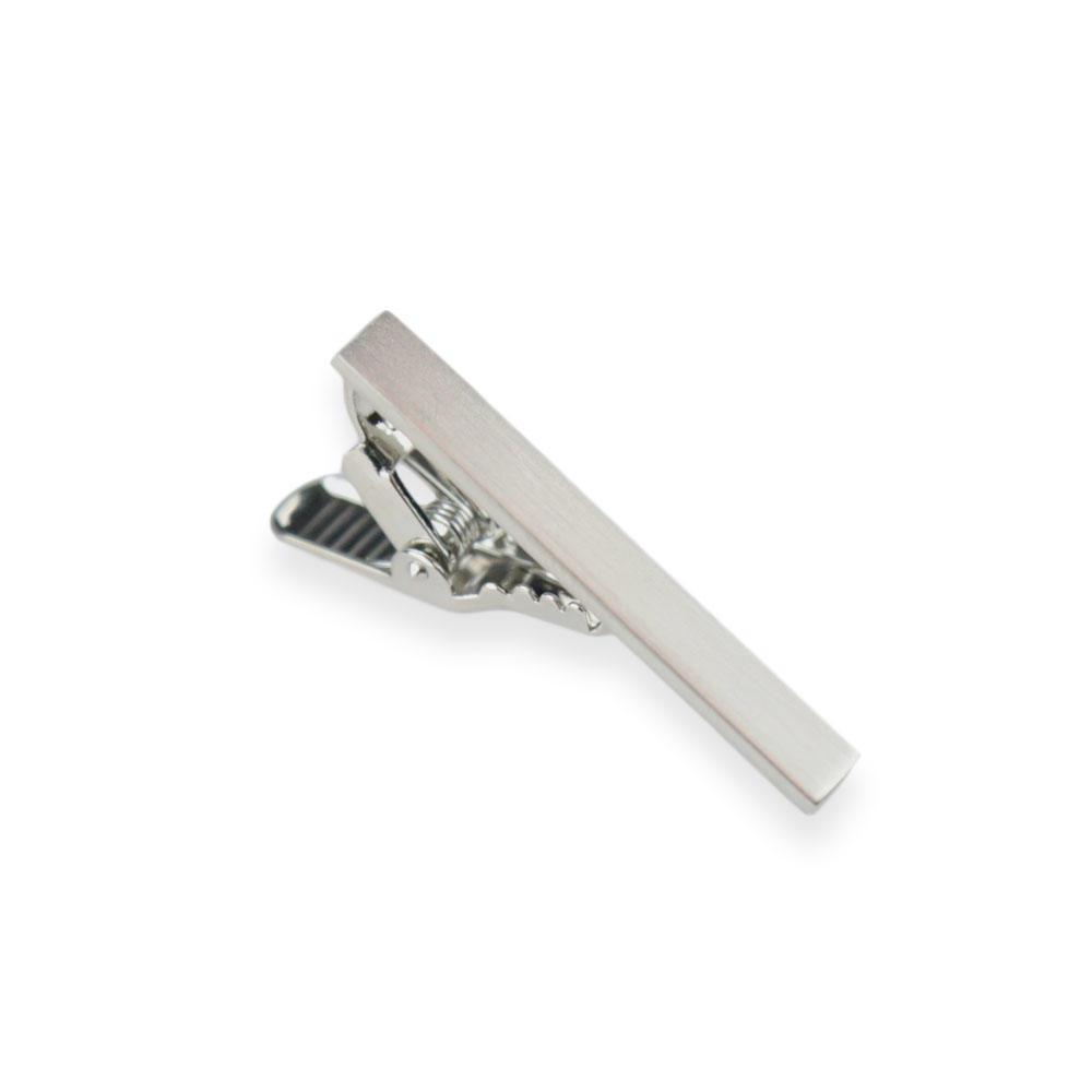 Tie clips Narrow Brushed Silver Tie Clip