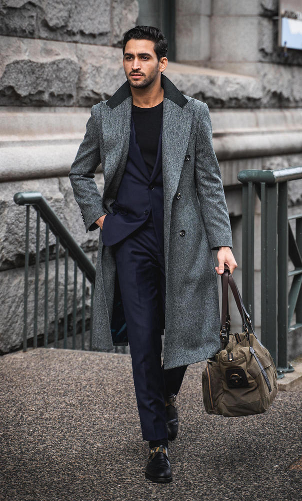 Overcoat Grey Herringbone Coat - Azurin +