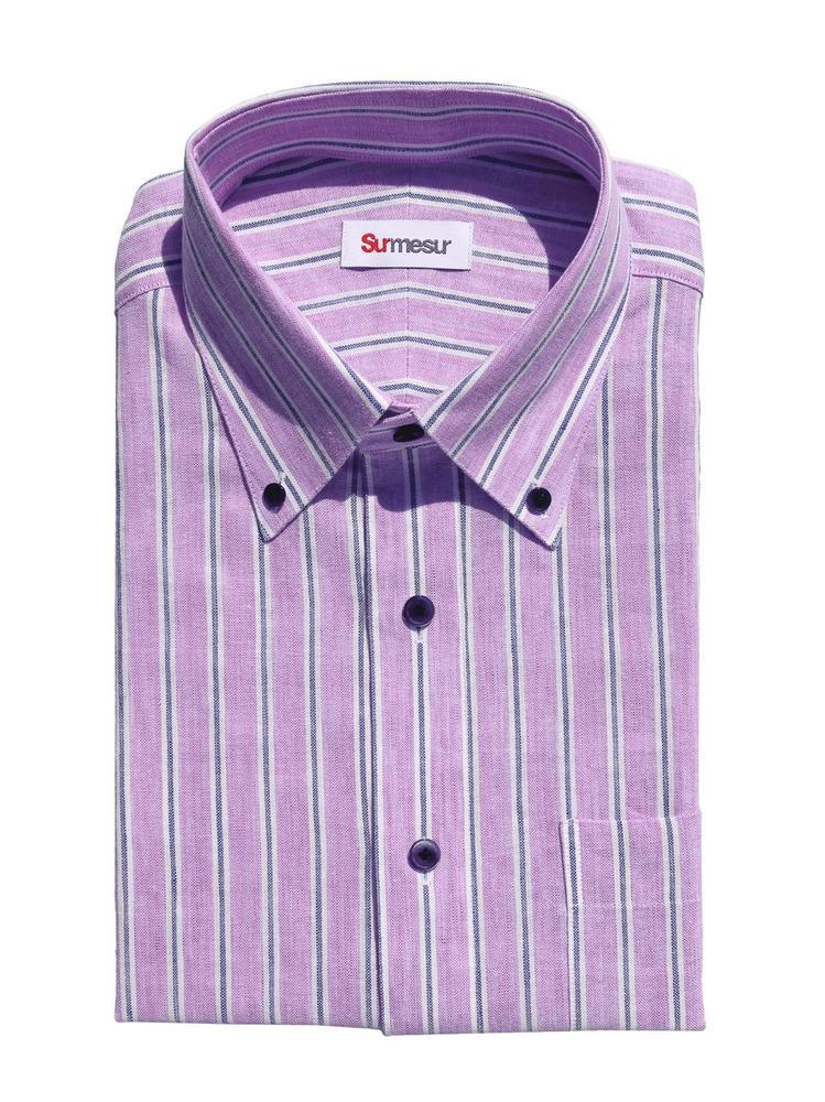 Dress shirt Purple Navy Stripes Linen - Scarlett