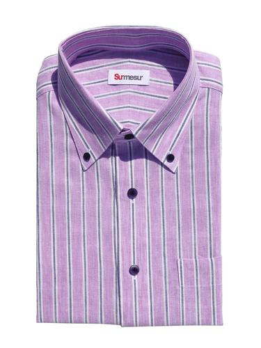 Dress shirt Purple Navy Stripes Linen - Scarlett