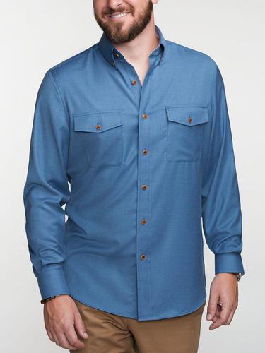 Chemise sport Bleue en bamboo avec contraste - Tenamo