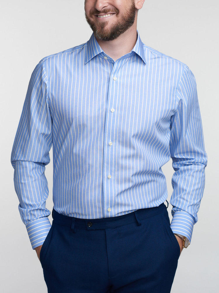 Chemise habillée Bleue avec rayures jaunes - Inspiro