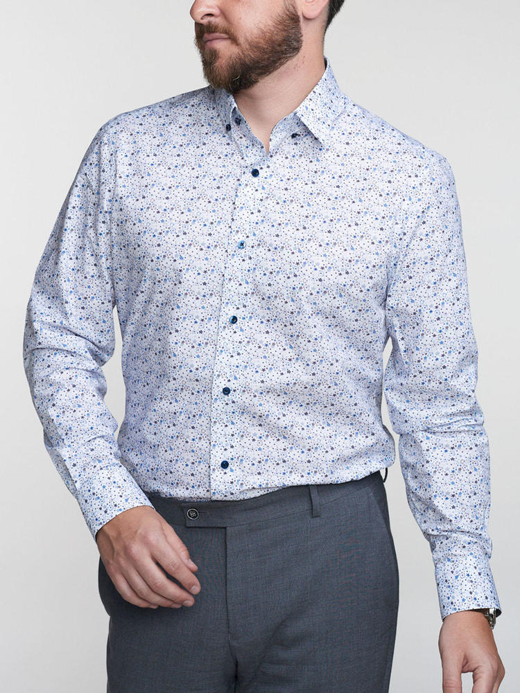 Sport shirt Floral Button-Down w/ Contrast - Walker