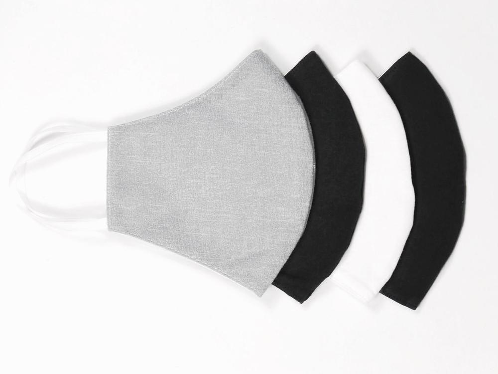 Couvre-visage réutilisable Le masque réutilisable en coton - Gris, Noir & Blanc - 100x