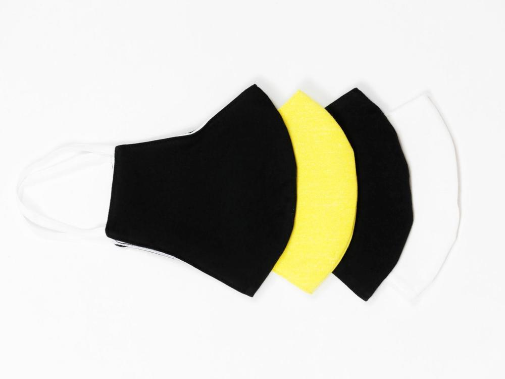 Reusable Face Protection The Reusable Cotton Mask - White, Black & Yellow - 12x