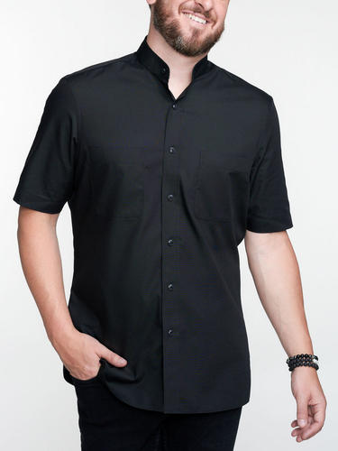 Sport shirt Casual Black Sport Shirt w/ Short Sleeves