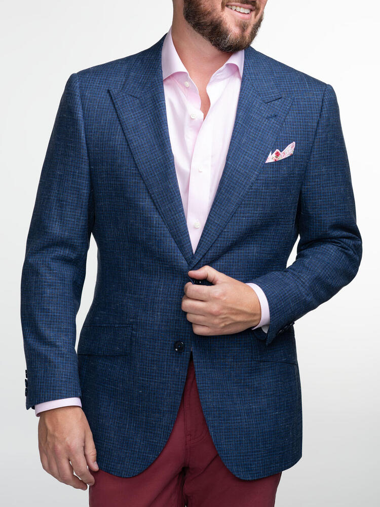 Jacket Blue Checks in Wool-Linen Blend - Oscar +