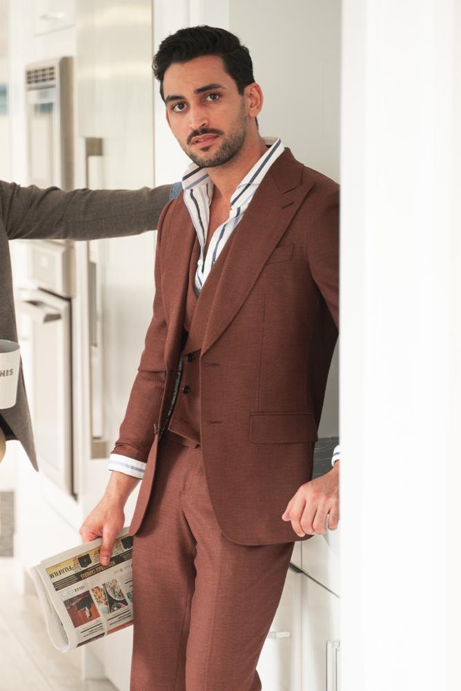 Three-piece suit Copper Brown Mesh 3-piece Suit