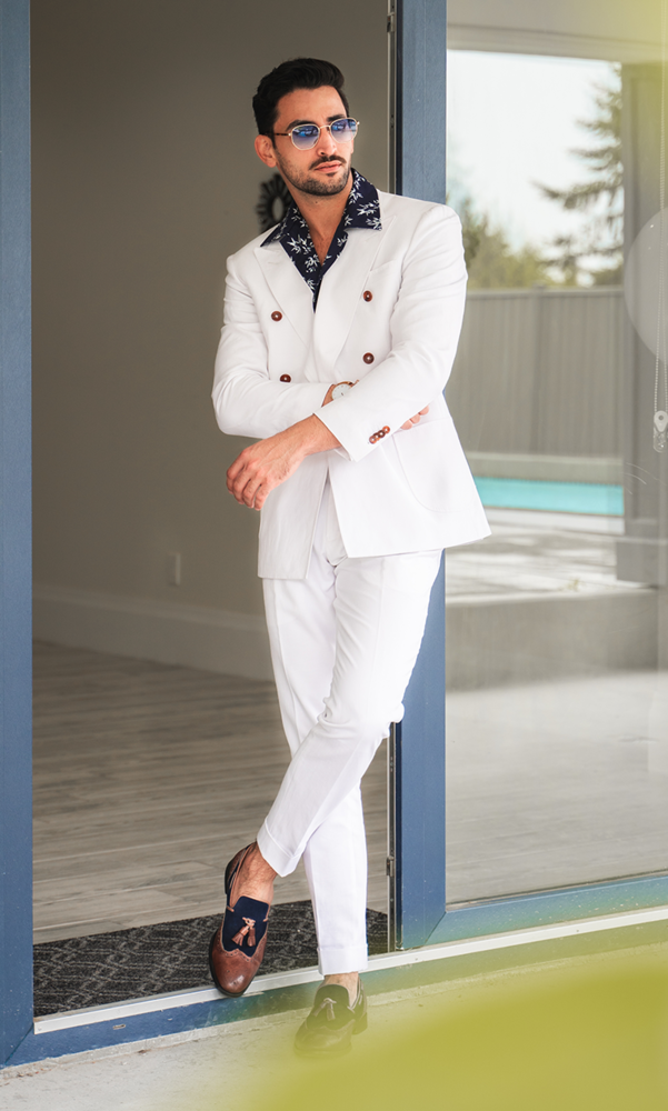 Suit White Linen Blend Double-Breasted Suit - Gustavo