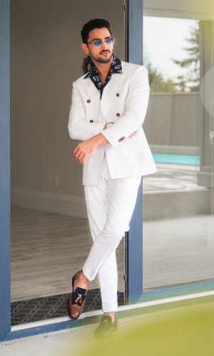 Suit White Linen Blend Double-Breasted Suit