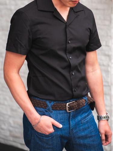 Chemise sport Noire à manches courtes avec col cubain - Charlotte