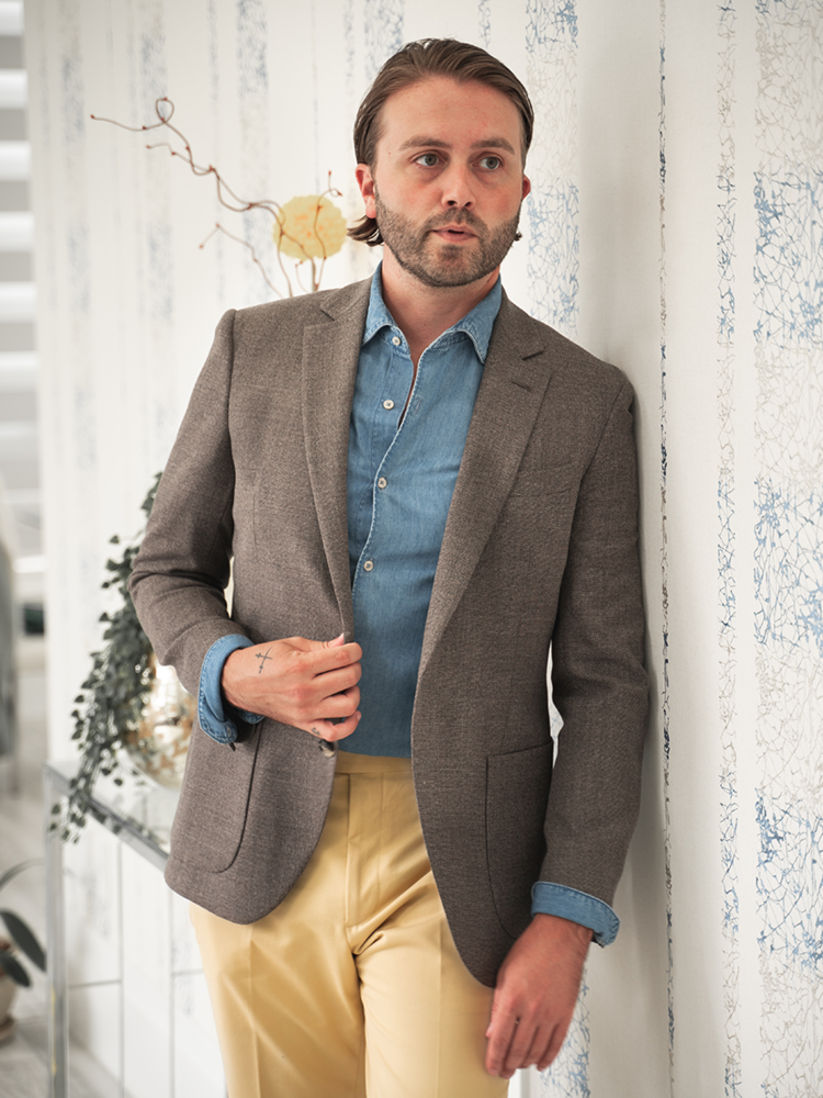Jacket Suitable Brown Hopsack Jacket - Reda Esquire