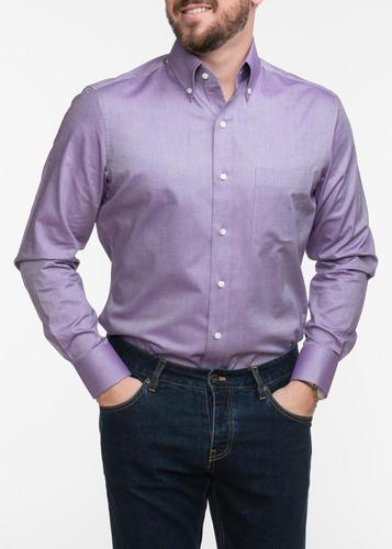 Chemise sport Chemise sport violet pâle à col boutonné
