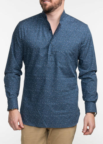 Sport shirt Blue Floral Sport Shirt with mao