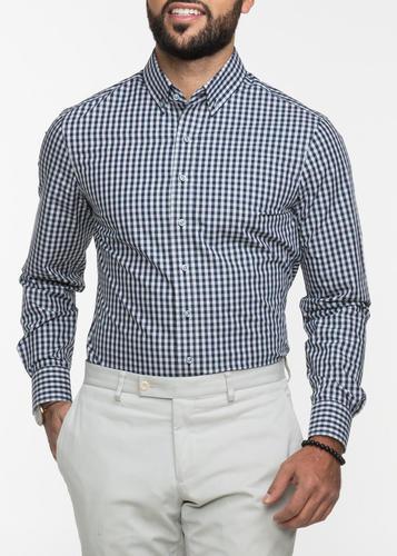 Chemise sport Chemise à carreaux gris et marine