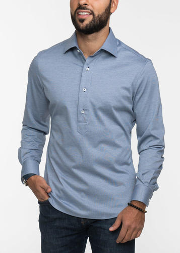 Sport shirt Blue Cotton Knit Popover Sport Shirt