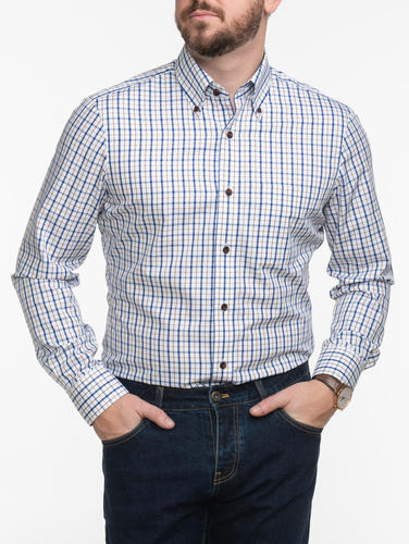 Dress shirt Blue & Brown Plaid Bamboo Shirt
