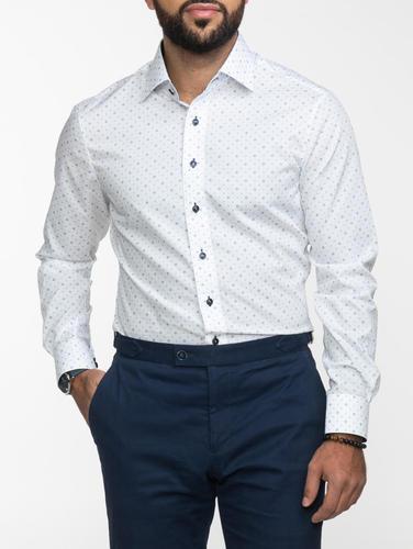 Chemise habillée Chemise blanche imprimé marine
