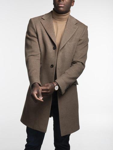 Overcoat Light Brown Herringbone Coat