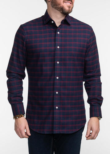 Sport shirt Navy and Burgundy Plaid Sport Shirt