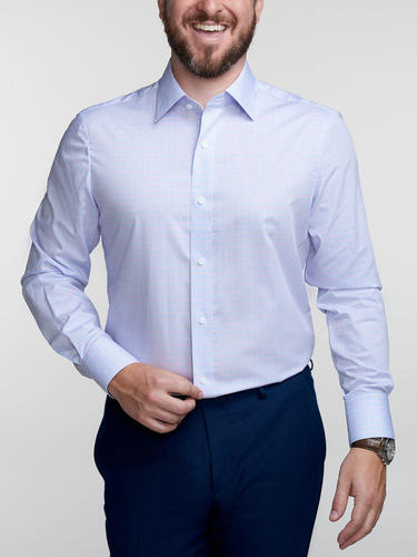Dress shirt Blue/Pink Check Dress Shirt