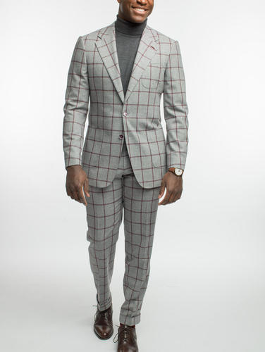 Suit Light Grey With Burgundy Windowpane Wool Suit