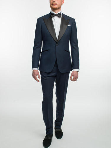 Suit Navy Jacquard Wool/Poly/Silk Blend Tuxedo
