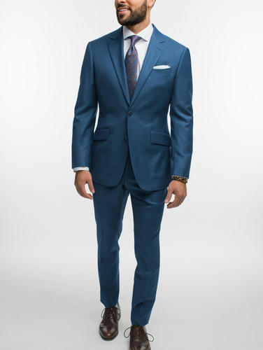 Suit Crystal Blue Sharkskin Wool Suit
