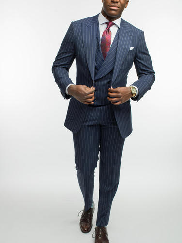 3-piece suit Navy Chalkstripe Wool 3-Piece Suit