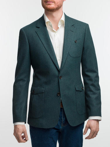Jacket Teal Wool-Lycra Blend Sports Jacket