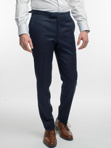 TROUSERS Navy Shadow Pinstripe Wool Trousers