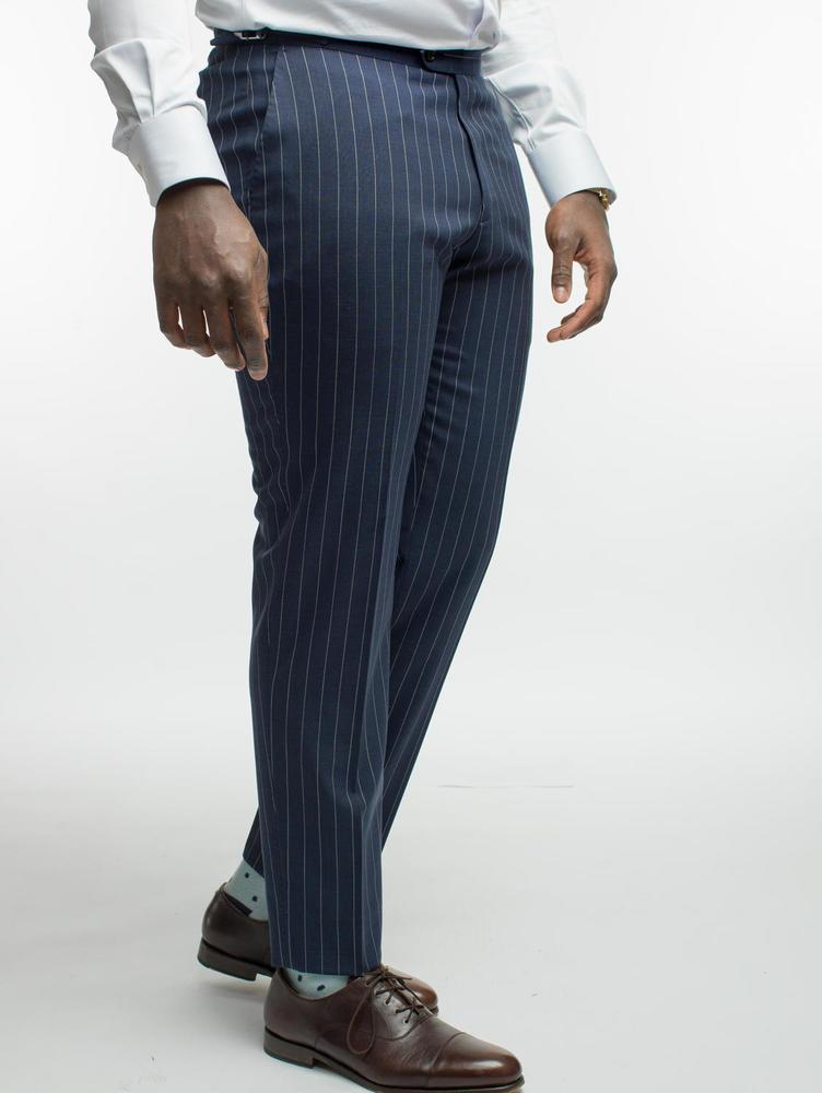 TROUSERS Navy Pinstripe Wool Trousers