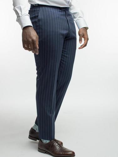 Pantalon Pantalon marine à fines rayures en laine