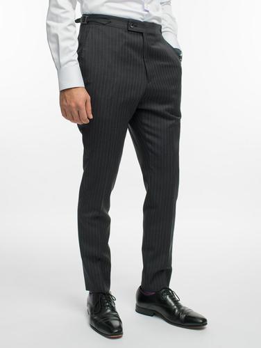 Pantalon Pantalon gris foncé à fines rayures lavande en laine